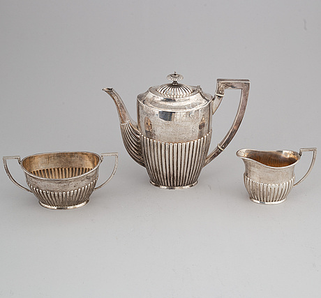 A silver coffee pot, creamer and sugar bowl, k andersson, stockholm 1898.