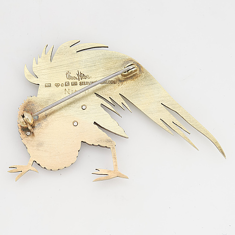 Wiwen nilsson, a gilt sterling silver brooch of a rooster, lund 1965, nr 11.