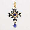 Pendant 18k gold 2 tanzanites, sapphires and brilliant-cut diamonds approx 0,20 ct in total.