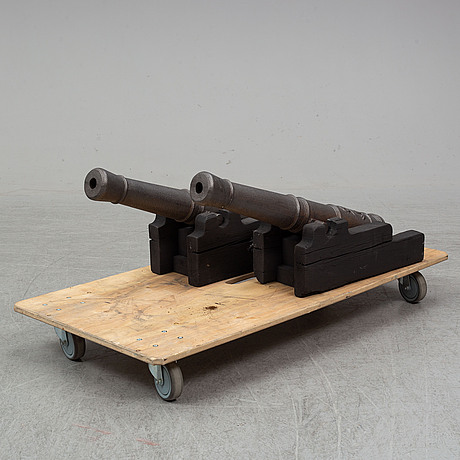A pair of copies of  16th century cannons from around year 1900.