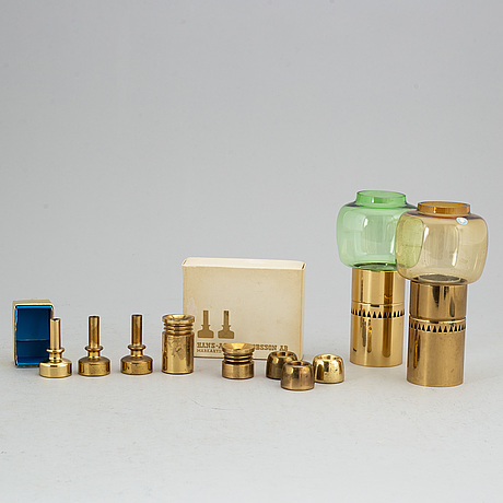 Hans-agne jakobsson, a set of 10 brass miniature candlesticks and holders for markaryd.