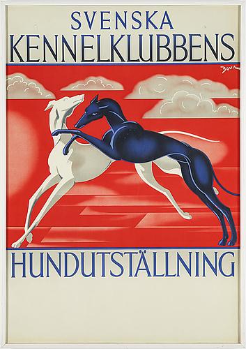 Bo vilson, a vintage poster, svenska kennelklubbens hundutställning, 1937.