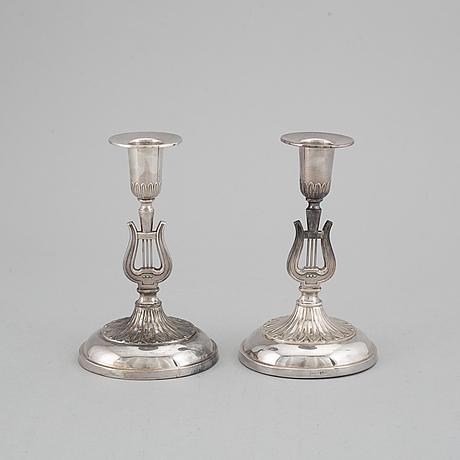 A pair of swedish 20th century silver candlesticks, marked k&ec, gothenburg 1959.