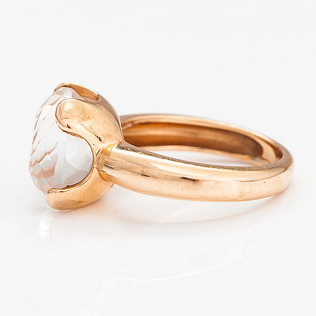 An 18k gold ring with a rock crystal. le-gi, italy.