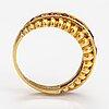Ring, 18k guld, rubiner. italien, finska importstämplar.