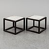 A pair of marble top side tables, second half of the 20th century.