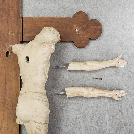 Crucifix, plaster and painted wood, 20th century.