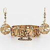 Jorma laine earrings and bracelet, bronze, 1970's.