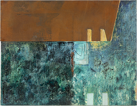 Jette l ranning, oil/mixed media/metal signed and dated -86 on verso.