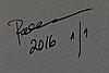 Paola suhonen, färgtryck på glas, a tergo signerad och daterad 2016, numrerad 1/1.
