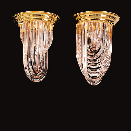 A pair of late 20th century italian glass ceiling lights.