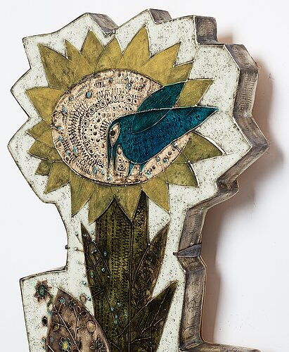 """Rut bryk, a large stoneware """"sun rose"""" wall relief, arabia, finland 1950's."""