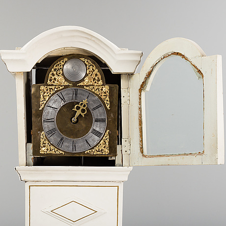A first half of the 19th century painted longcase clock.