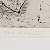 Lena cronqvist, etching, 1981, signed 145/150.