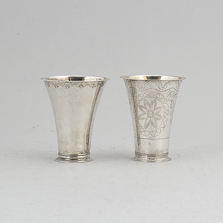 Petter gillberg, two silver cups, varberg 1765 & 1770.