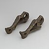 A 20th century pair of art noveau style bronze door handles.