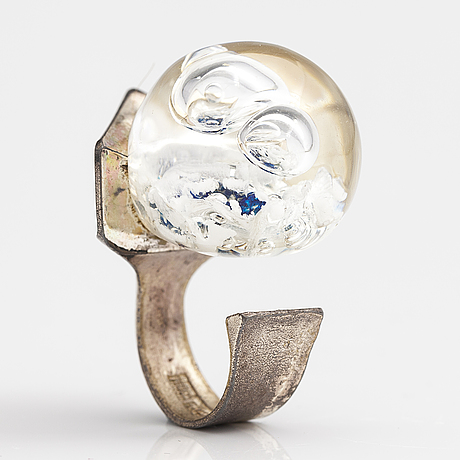 "BjÖrn weckstrÖm, a sterling silver and acrylic ring ""pertified lake"". lapponia 1972."