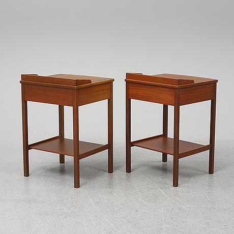 Kerstin hÖrlin-holmquist, a pair of mahogany bedside tables, triva, nordiska kompaniet, 1965.