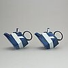 Rolf sinnemark, two porcelain teapots with covers, rörstrand.
