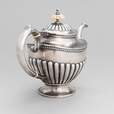A russian silver teapot, mark of ljubavin under the imperial warrant mark, swedish control marks.