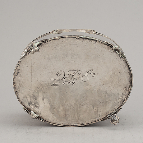 A swedish early 19th century silver sugar-casket, mark of petter adolf sjöberg, stockholm 1812.
