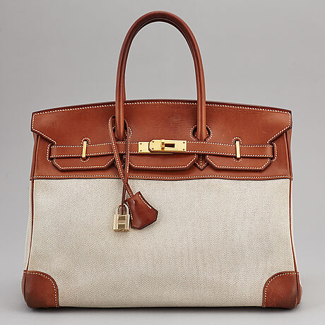 HermÈs, a 'birkin 35' leather and canvas bag from 2001.