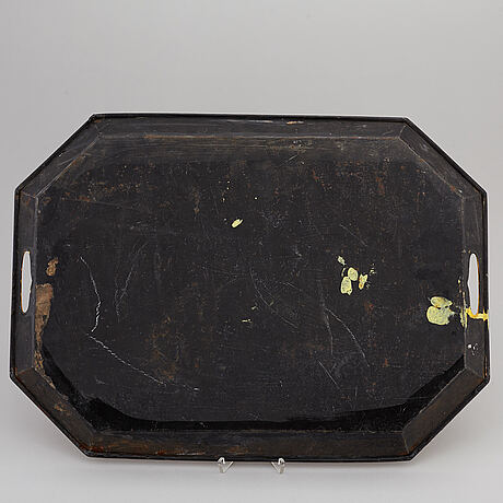 A lacquered tin tray, sweden 19th c.