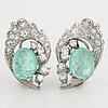Cabochon-cut emerald and brilliant-cut diamond earrings.