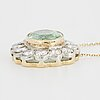 Tourmaline and brilliant-cut diamond pendant.