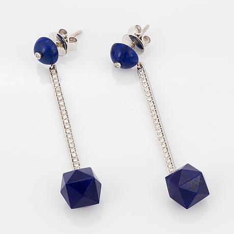 Platinum, lapis lazuli and diamond earrings.
