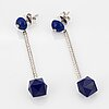ÖrhÄngen, platina, lapis lazuli och briljantslipade diamanter.