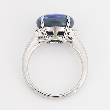 Opal and brilliant-cut diamond ring.