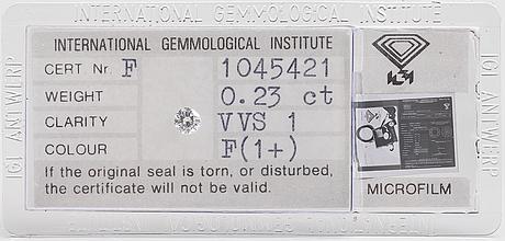 An 0.23 ct diamond. clarity vvs, colour f.