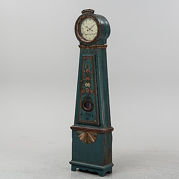 A painted grandfather clock, dated 1829.