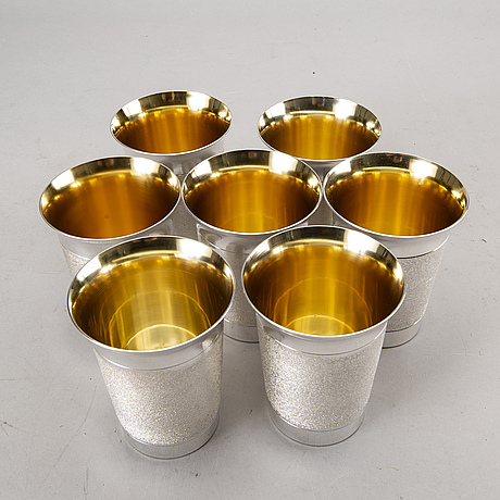 A swedish 20th century set of 7 sterling beakers mark of alton falköping 1978, total weight ca 1192 gr.