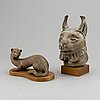 Two gunnar nylund stoneware figurines, rörstrand, sweden, mid 20th century.