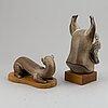 Two gunnar nylund stoneware figurines, rörstrand, sweden, mid 20th century.