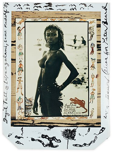 "Peter beard, ""fayel tall on lake rudolf at loingalani, february 1987""."