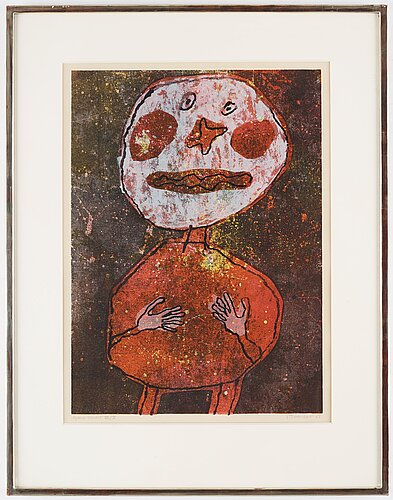 "Jean dubuffet, ""personnage au costume rouge""."