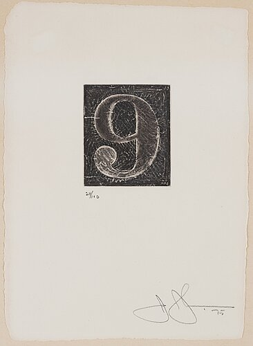 "Jasper johns, ""9"" from ""0-9 (a set of ten numerals)""."