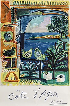 PABLO PICASSO, after, lithographicposter. Printed by Mourlot.
