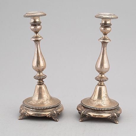 Four items with a royal provenance. silver candlesticks, silver beaker, brass seal and a telegram.