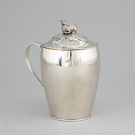 A silver tankard with lid by ander lundqvist stockholm 1821.
