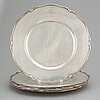 Six silver plates by wa bolin, stockholm 1929.