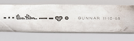 A swedish 20th century sterling silver letter knife mark of wiwen nilsson lund 1952 (?), total weight  ca 210 gr.
