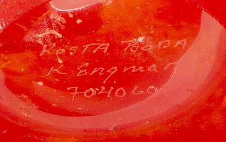 Kjell engman, vas signerad artist's choice kosta boda glas, 1900-talets senare del.