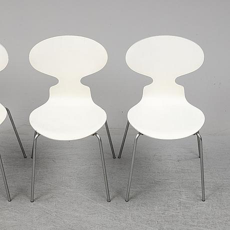 Arne jacobsen, four 'myran' chairs, fritz hansen, 1970.