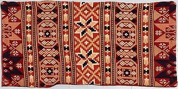 A carriage cushion, flat weave, ca 47-49,5 x 100 cm, Scania, Sweden, around 1900.