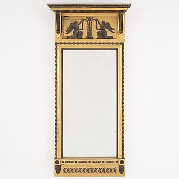 A Gustavian mirror, signed Hedberg & Lindblad, Stockholm, early 19th Century.