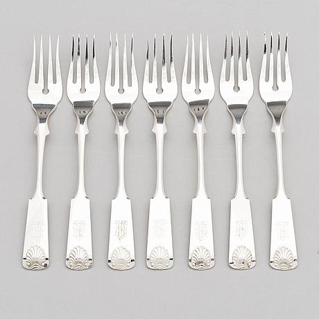 Bruno nylund, a 14-piece set of fish cutlery in silver, helsinki 1923.
